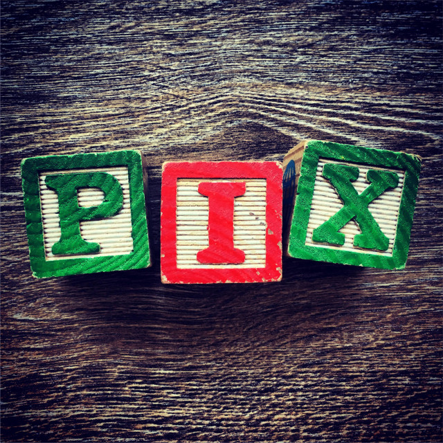 """PIX word written with wood block letter toys"" stock image"