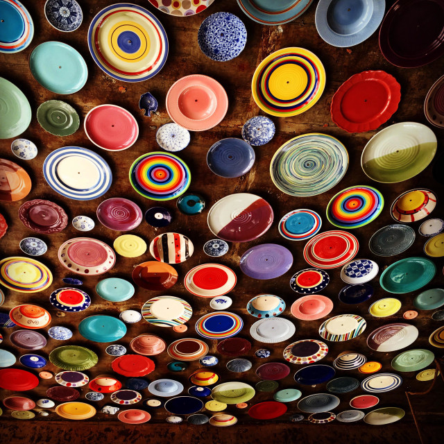 """""""Ceiling decorated with variety designs of beautiful dishes"""" stock image"""