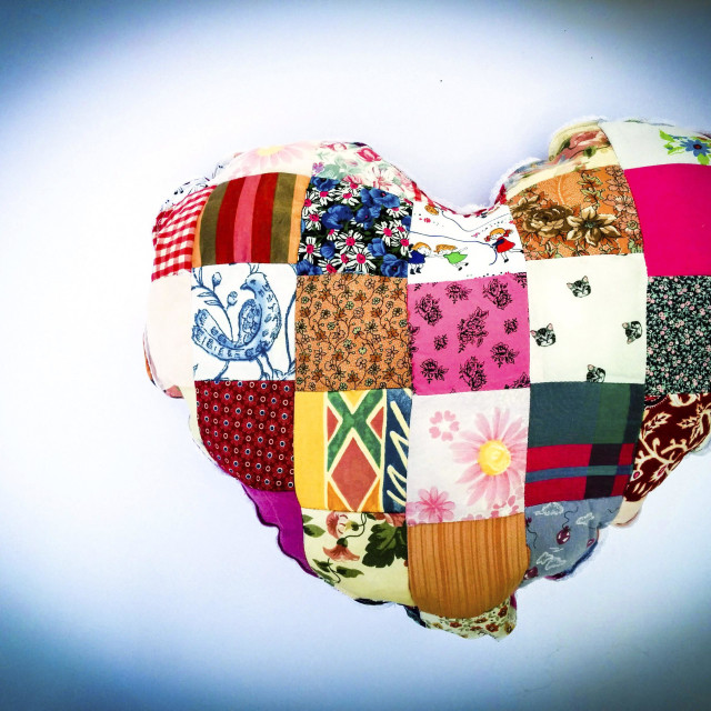 """Heart-shaped cushion."" stock image"