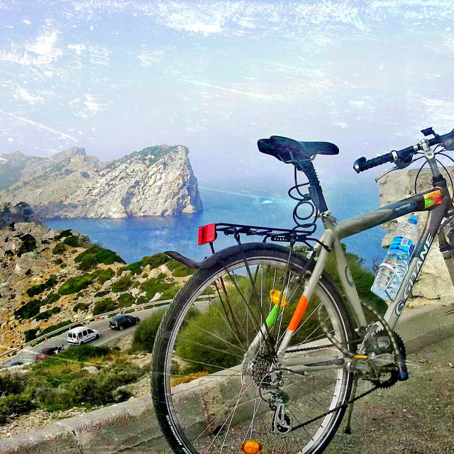 """Formentor, Mallorca. Tour on bike...!"" stock image"