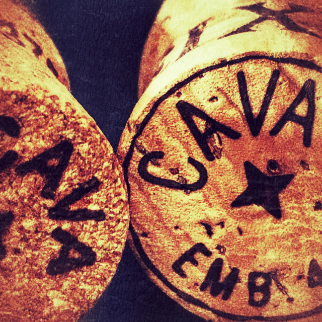 """Two corks from cava bottles"" stock image"