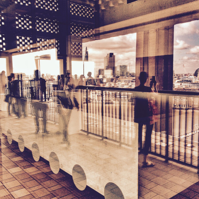 """""""The London skyline and reflections at the viewing Tate Modern extension viewing floor on the Southbank London UK 2016"""" stock image"""