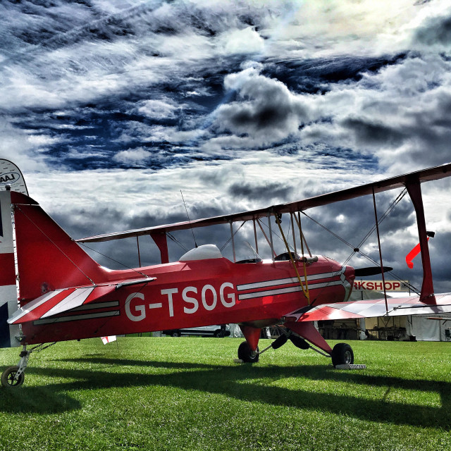"""Sherwood Ranger Biplane at LAA Rally Sywell Aerodrome"" stock image"