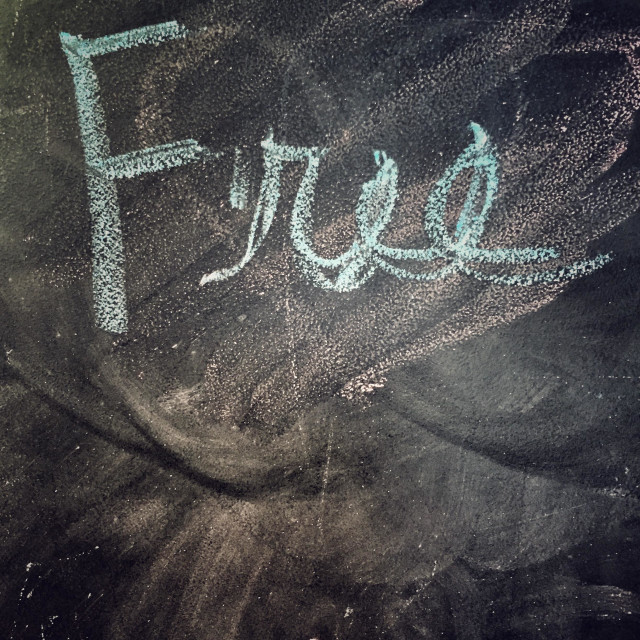 """""Free"" written in chalk"" stock image"