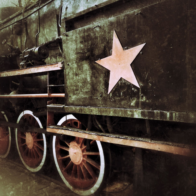 """Old steam engine with Soviet Union red star"" stock image"