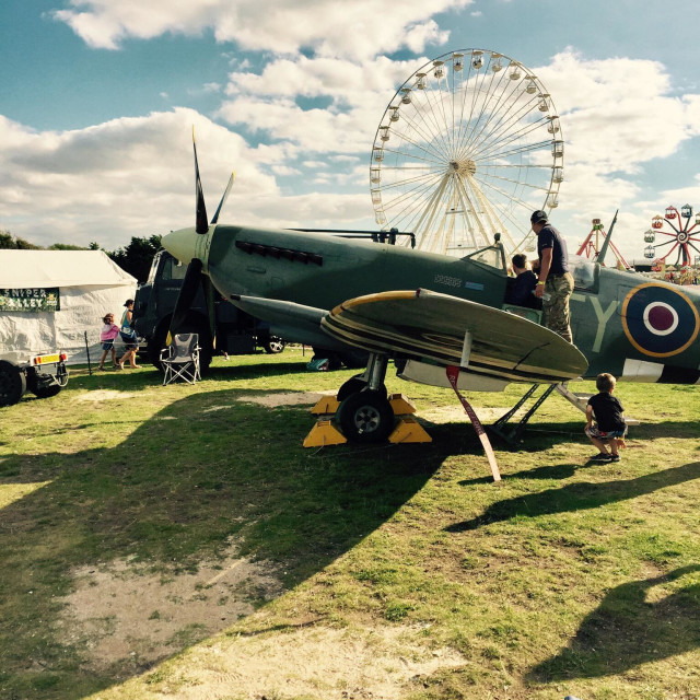 """Spitfire at southport air show 2016"" stock image"