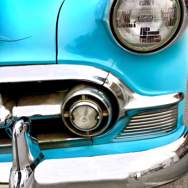 """""""1953 Chevy 210 front grille detail"""" stock image"""