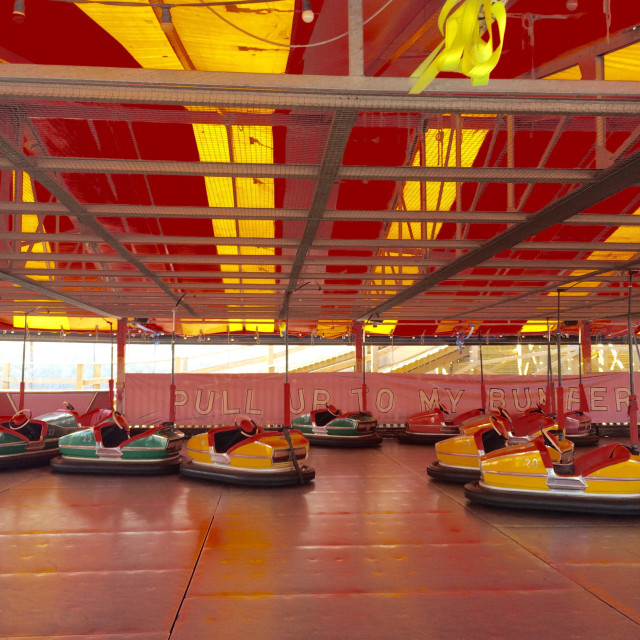 """""""Pull up to the bumper - bumper cars at a fairground UK"""" stock image"""
