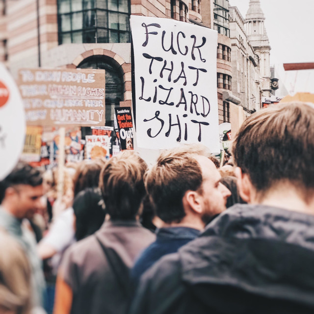 """""""Fuck that lizard shit placard at anti austerity demonstration."""" stock image"""
