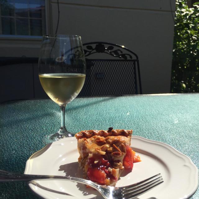 """Pie and wine"" stock image"