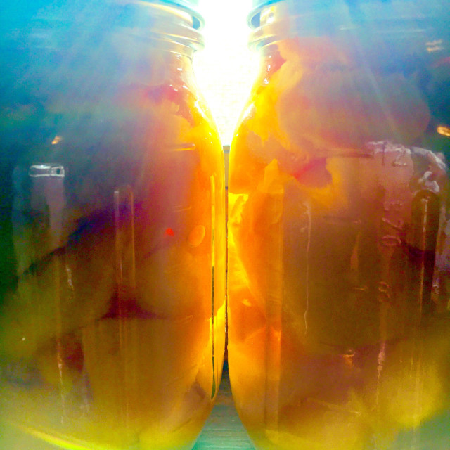 """""""Sunrise over canned peaches"""" stock image"""