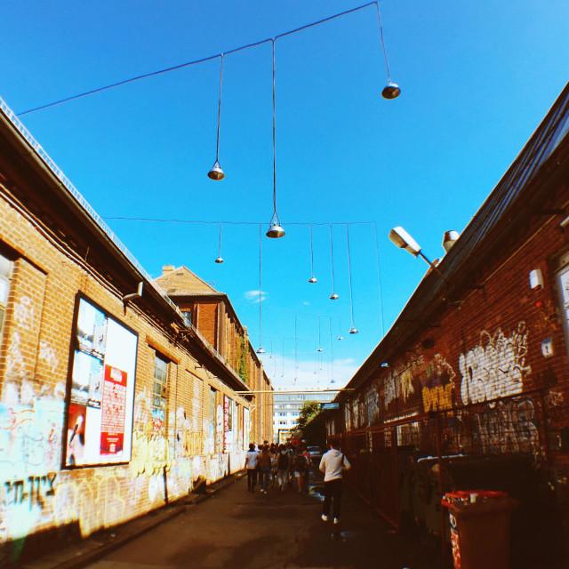 """Street scene from Berlin Kreuzberg in the area around Badeschiff"" stock image"