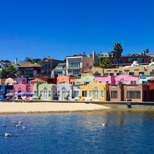 """""""These colorful beach houses in Capitola, California are gorgeous."""" stock image"""
