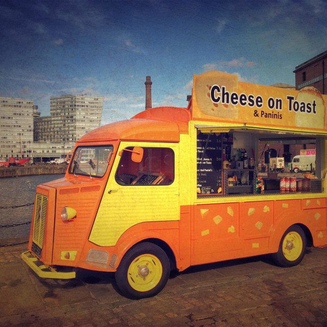 """Street food van at Albert Dock, Liverpool, UK"" stock image"