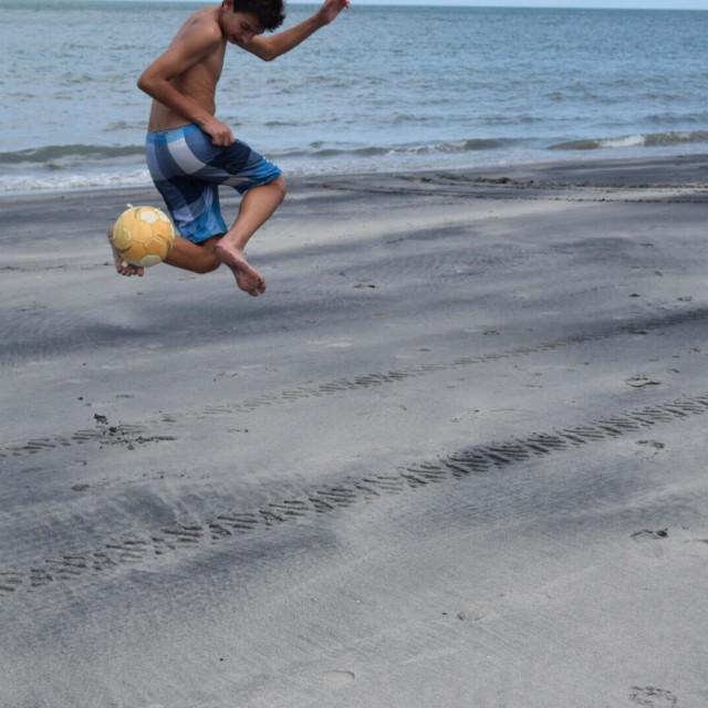 """Beach Soccer on Playa Serena, Republic of Panama"" stock image"