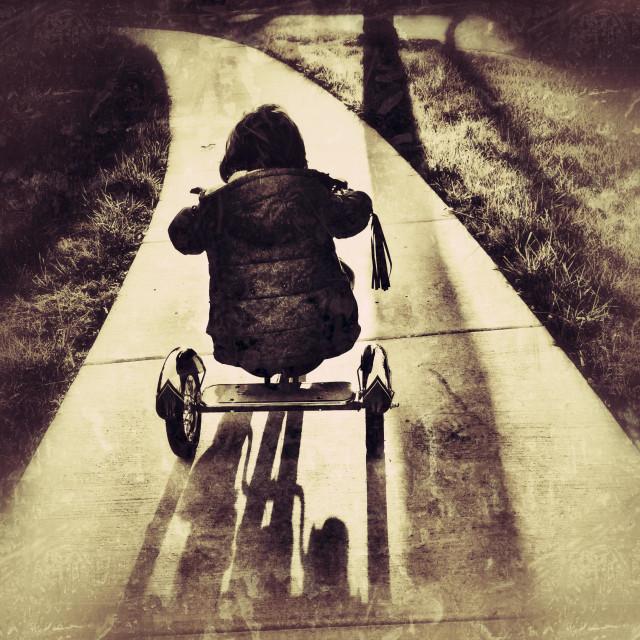 """Tricycle traveler."" stock image"