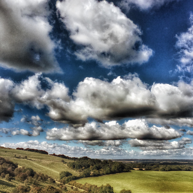 """North Wessex downs on a fine autumn day with faire weather clouds and rolling west Berkshire down land"" stock image"