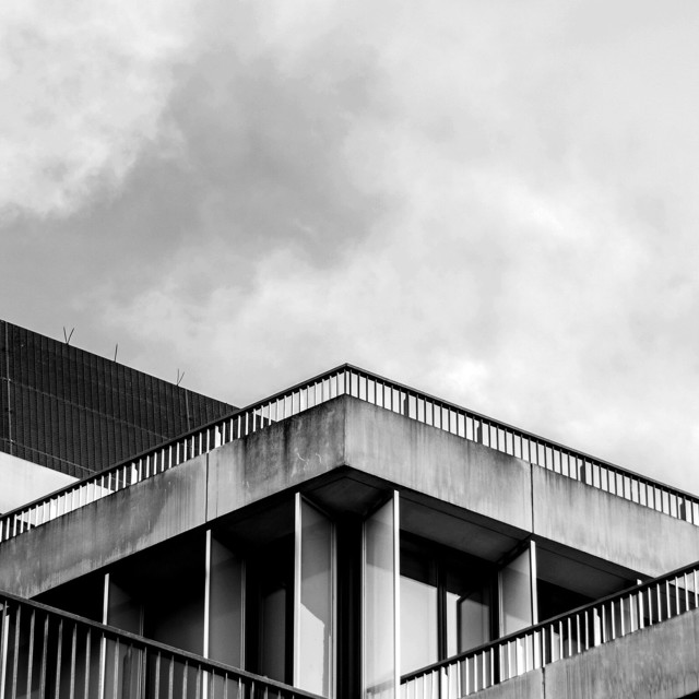 """""""Brutalist architecture railings with sharp angles shot in monochrome"""" stock image"""
