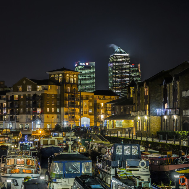 """Canary Wharf and Limehouse Marina"" stock image"