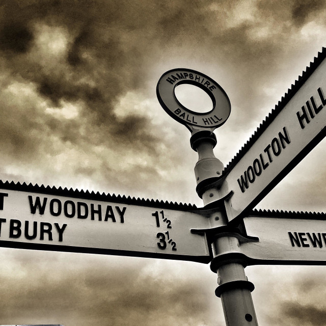 """Road sign with three directions to local villages and town, Newbury and surroundings"" stock image"