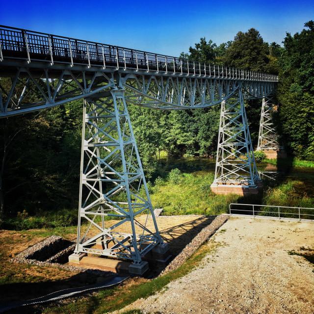 """Narrow-gauge Railway bridge over Brda River in Kuyavian-Pomeranian Voivodeship, Poland"" stock image"