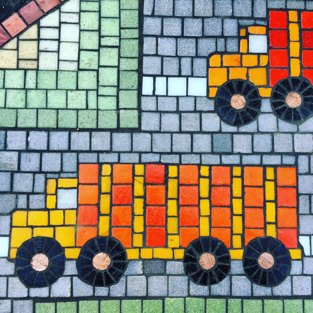 """Brightly colored mosaic featuring a toy-like semi truck"" stock image"