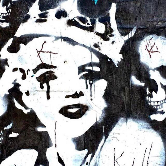 """Graffiti representation of Marilyn Monroe with a crown on her head"" stock image"