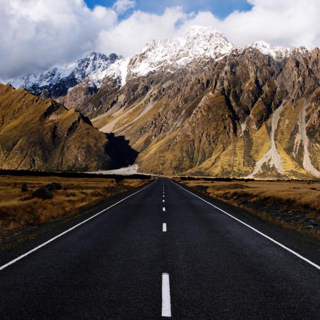 """Tasman Valley Road, Aoraki Mt Cook, New Zealand."" stock image"