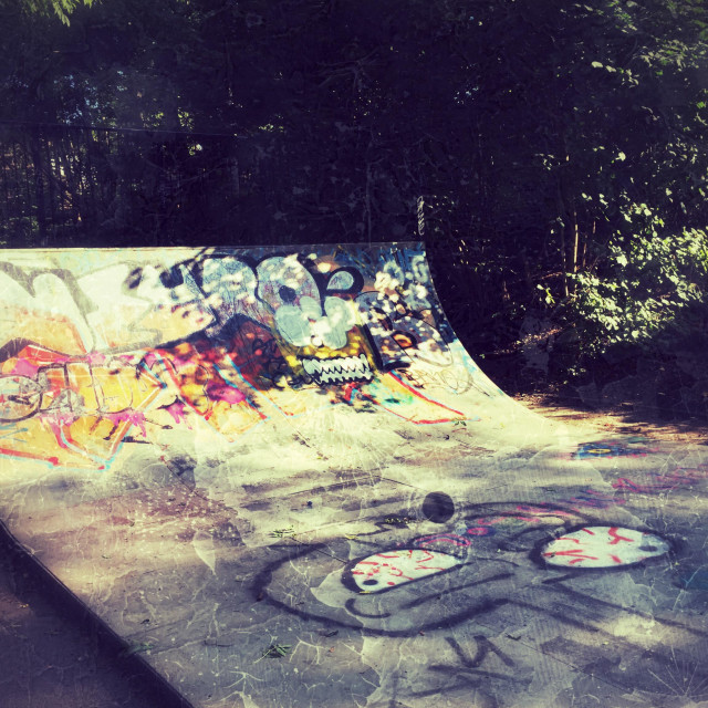 """Skate board half pipe on Parkland walk near Finsbury Park,Islington, Hornsey, Crouch Hill, North London, UK"" stock image"