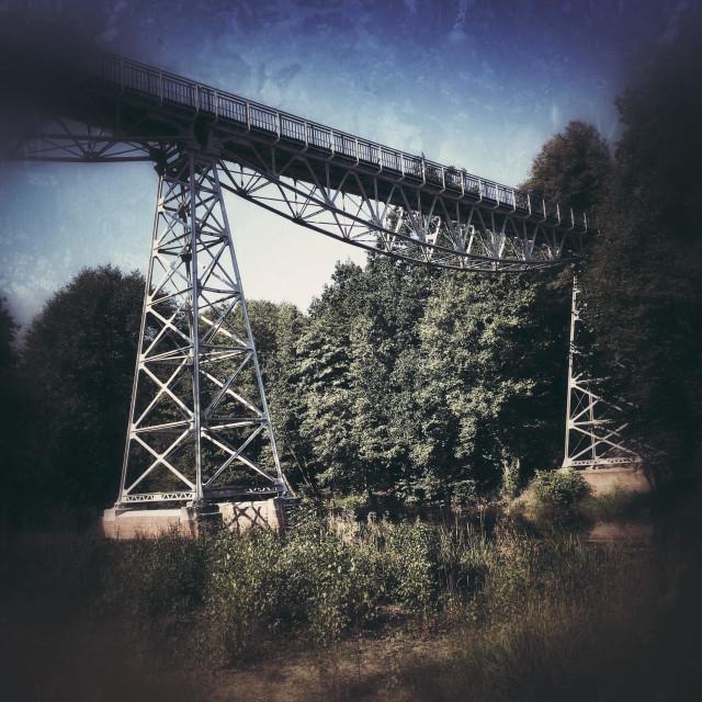 """Narrow-gauge Railway bridge over Brda River in Koronowo city, Kuyavian-Pomeranian Voivodeship, Poland"" stock image"