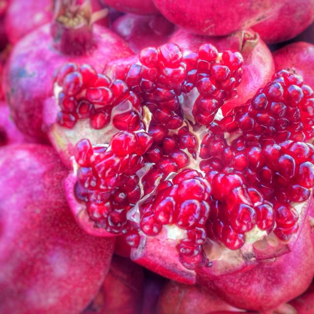 """Pomegranate seeds close ups"" stock image"