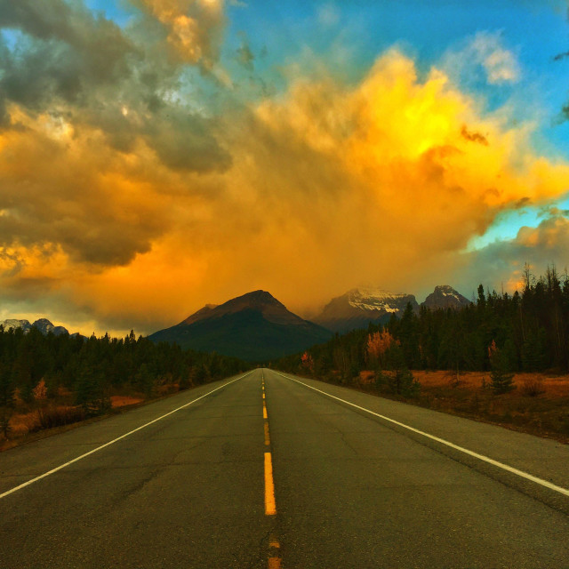 """""""Sunrise in the Canadian Rockies"""" stock image"""