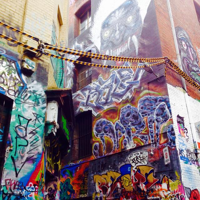 """""""Street graffity art in Hoiser Lane in Melbourne (Australia)"""" stock image"""