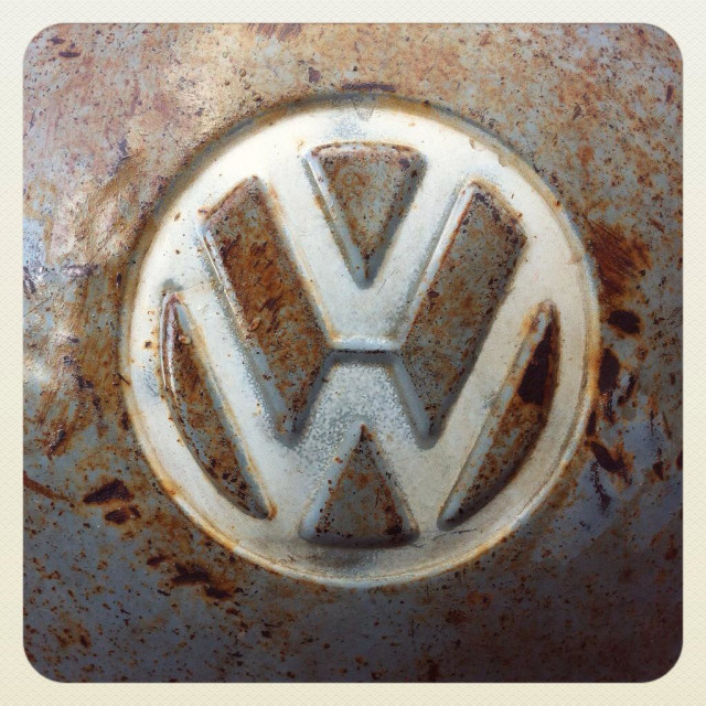 """Volkswagen transporter commercial hubcap, with patina"" stock image"