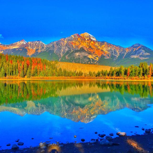 """Pyramid Mountain and Pyramid Lake in Jasper National Park"" stock image"