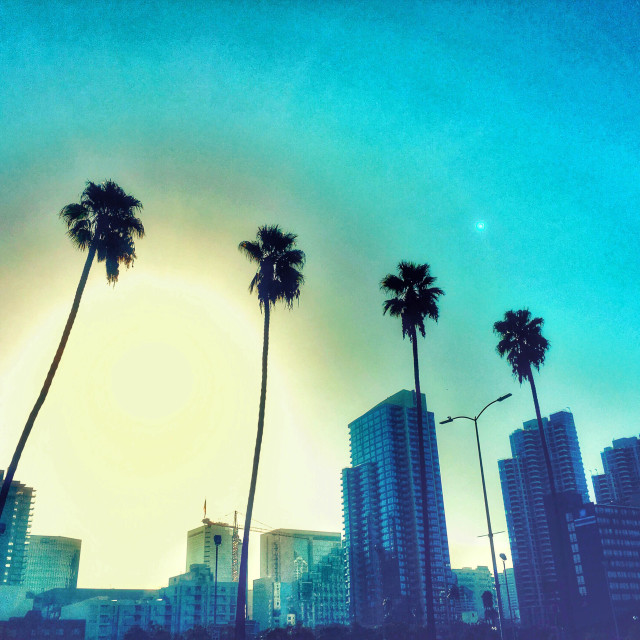 """""""Dawn in Downtown San Diego"""" stock image"""
