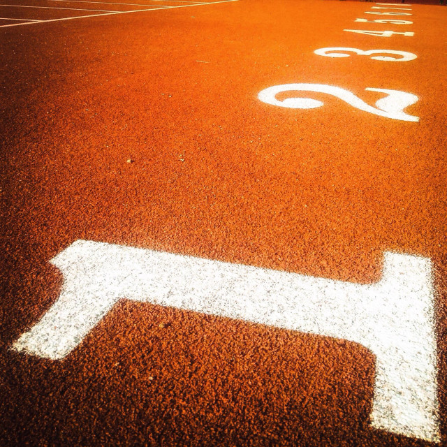 """""""Ordinal numbers on an athletic field track"""" stock image"""