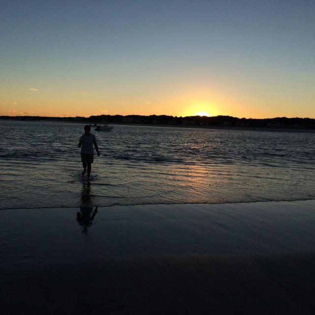 """Sunset at the beach. Goose Rocks, Maine."" stock image"