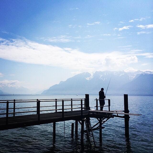 """""""Fisherman in Switzerland."""" stock image"""