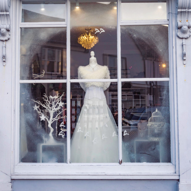 """Winter wedding dress display"" stock image"