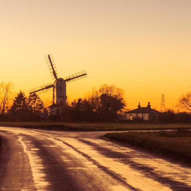"""Saxtead Green Windmill at dusk"" stock image"