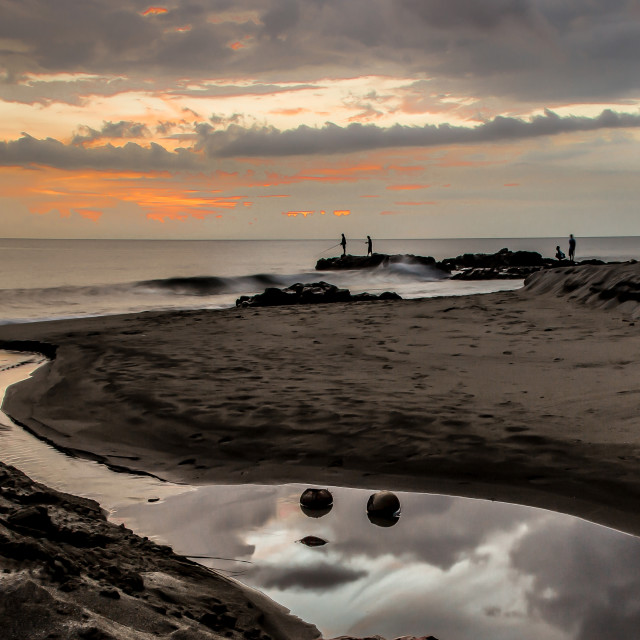 """""""Sunset Fishing"""" stock image"""
