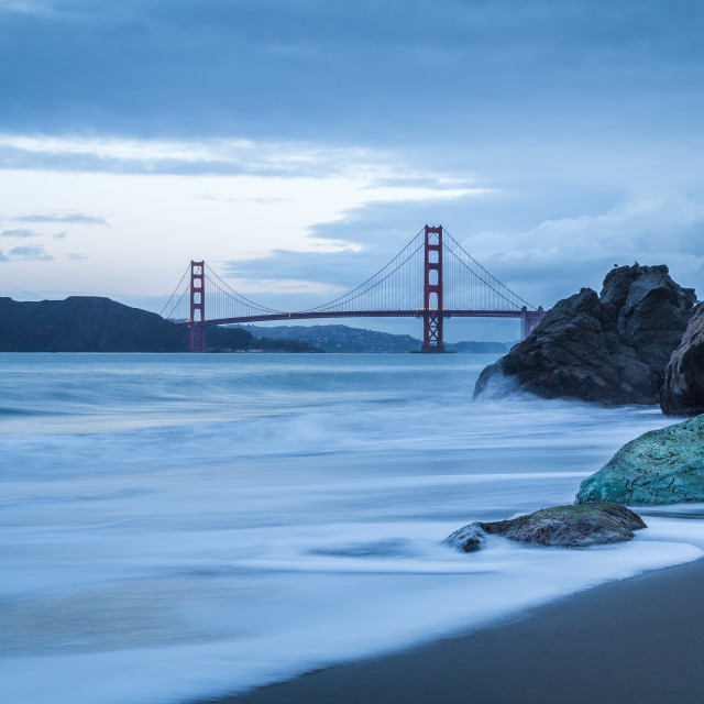 """A view of China Beach, Golden Gate Bridge in Background"" stock image"