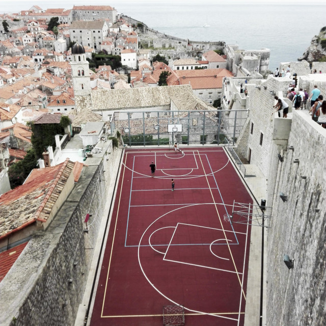 """Dubrovnik Old Town football pitch"" stock image"