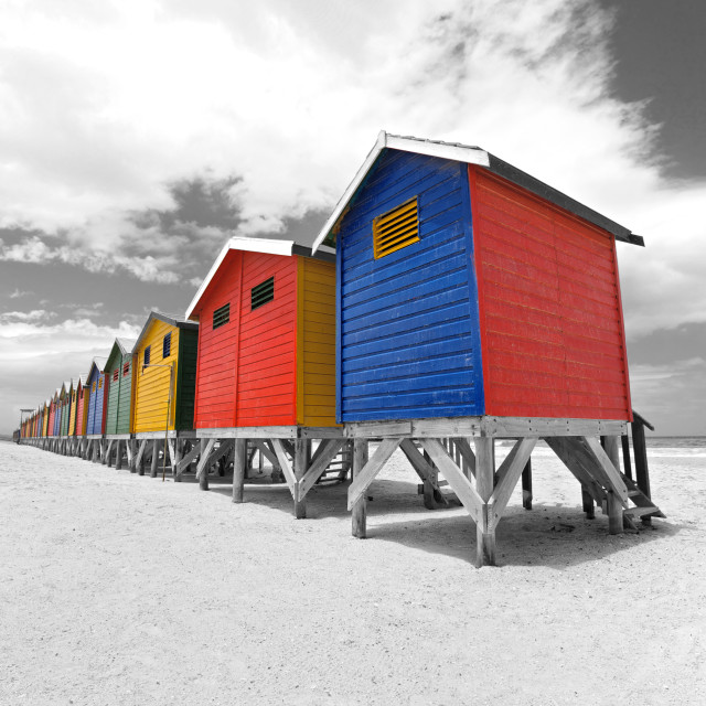 """Painted beach huts in Cape Town, South Africa"" stock image"