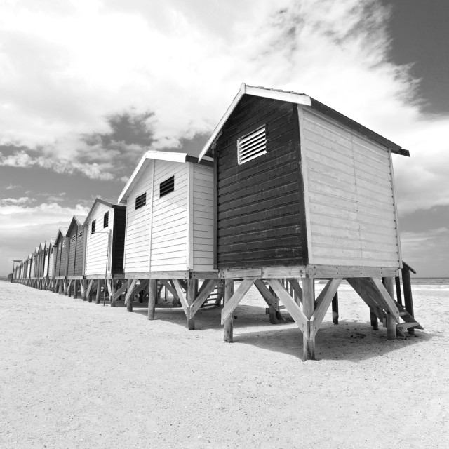 """Beach huts in Cape Town, South Africa"" stock image"