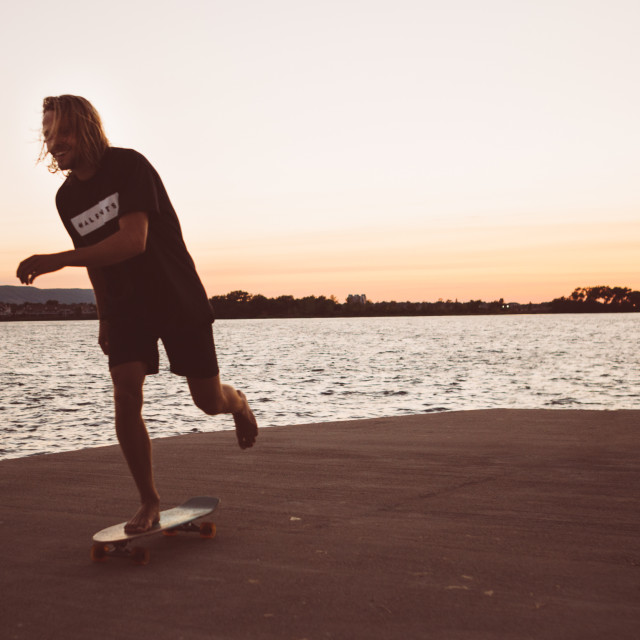 """Sunset skating"" stock image"