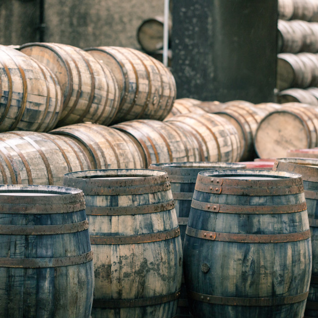 """""""Whisky barrels full of whiskey in Scottish traditional distillery"""" stock image"""