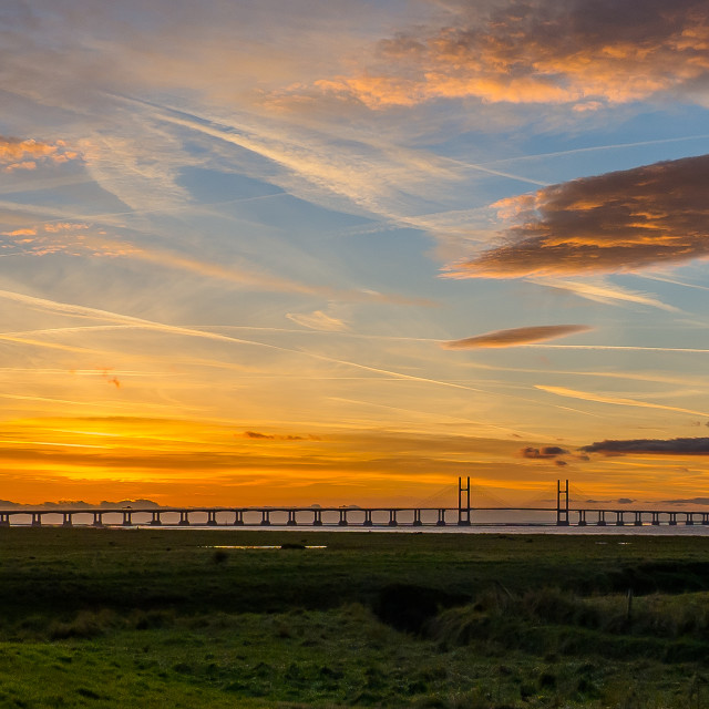 """Second Severn Crossing at Sunset 3 Jan 17"" stock image"