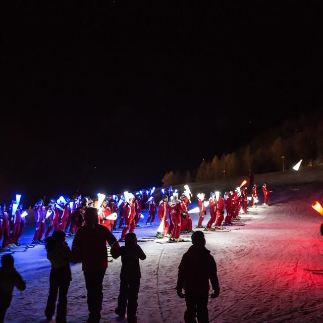 """Torchlit Ski show"" stock image"